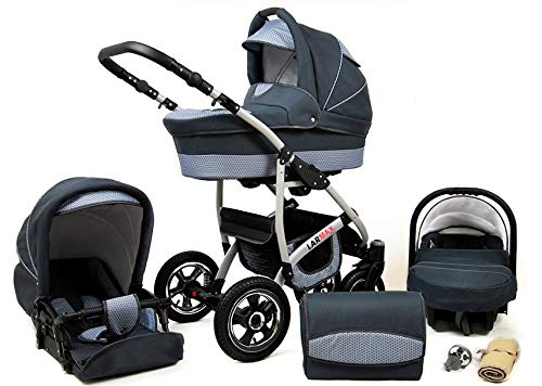 Lux4Kids 3 in 1 Combi pram Pushchair Stroller Complete Set with car seat Isofix Larmax Magic Grey 4in1 car seat +Isofix Lux4Kids Lux4Kids 4in1 or 3in1 or 2in1 pushchair. You have the choice whether you need a car seat (baby seat certified according to ECE R 44/04 or not). Of course, the Pram is stabil, safe and durable Certificate EN 1888:2004 Of course, the baby Basket has a rocking function when it is removed from the pram. The push handle adapts to your size and fits for everyone 1