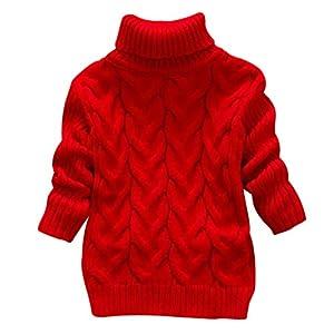 DEBAIJIA Suéter para Bebé Niños Niña Jumper Invierno Jersey de Punto Grueso Cuello Redondo Cálido Cómodo Moda Color… 5