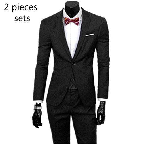 YHNSXZ Anzug,Anzugjacken,Blazer + Pants + Weste Set/Herrenmode DREI Stück Anzug Sets/Männlich Business Casual Mantel Jacke Weste, 2 Stück Schwarz, S