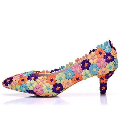 Qingchunhuangtang@ sposa colorati di scarpe, pizzi, sottili tacchi, wedding scarpe e tacchi alti,thirty-four,colorato