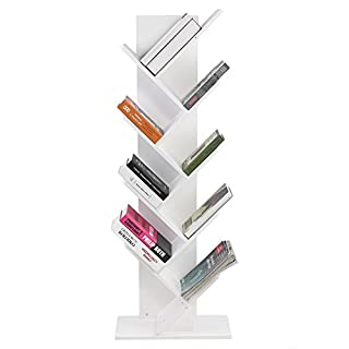 Zerone 9-Shelf Tree Bookshelf, Tree Shape Floorstanding Bookshelf, Modern Bookshelves Wooden Tree Shaped Bookcase Simple Living Room Storage Organizer Shelf 50 * 25 * 135cm (White)