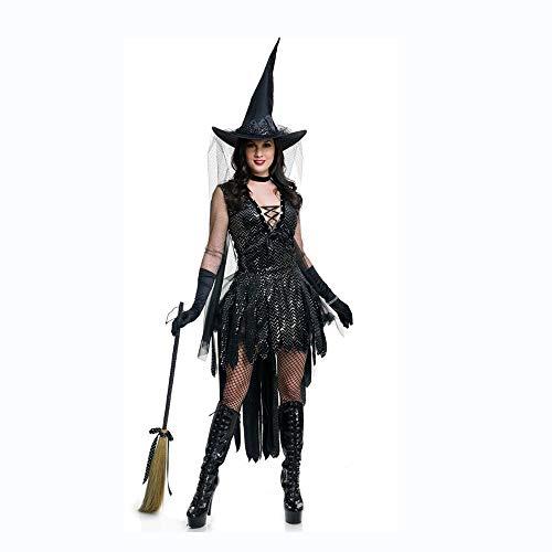 Shisky Cosplay kostüm Damen, Halloween Zauber Mädchen Spiel Pailletten Hexe einheitliche Nachtclub Bar Spielen Hexenkostüm (Halloween-hexe Zauber Spiele)