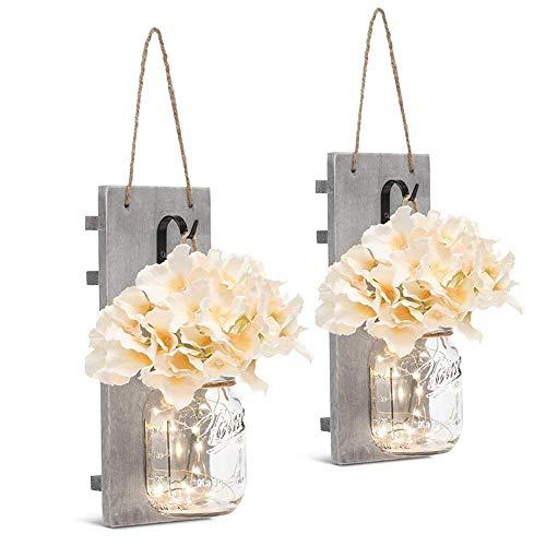 navigatee Einmachglas-Lichter, einfache Gras-Flaschen-Blumen-helle rustikale Wand-Lampen-hölzerne LED-Streifen-Licht-Inneneinrichtung -