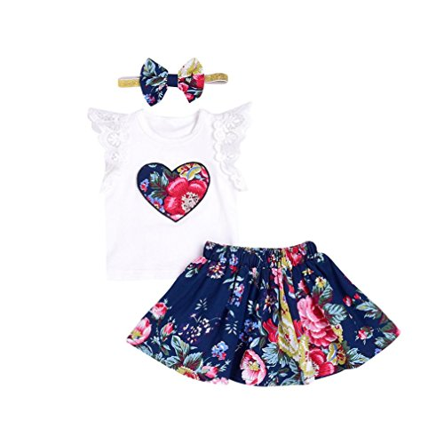 SHOBDW Girls Clothing Sets, Baby Kids Birthday Gifts Floral Print Lace Tops T-Shirt + Skirt + Headbands Clothes Infant Summer Outfits