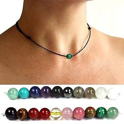 Collier pierre naturelle personnalisé, malachite, etc. ras de cou femme, choker, cadeau femme