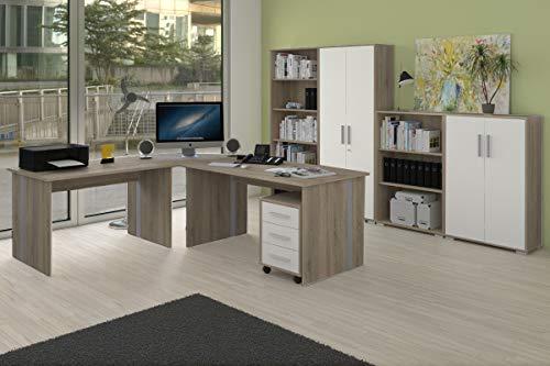 Büromöbel Set 8 Teile in Sonoma Eiche Dekor, Arbeitszimmer, Möbel, Büroeinrichtung (Komplettset 8-Teilig II)