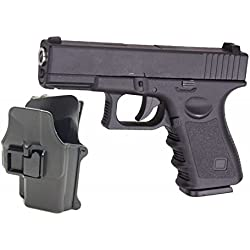 Airsoft Galaxy Type Glock G17 / G19 Noir Full Metal Ressort Full Metal a Ressort + Holster Rigide retention active Rechargement Manuel (0.4 joule)