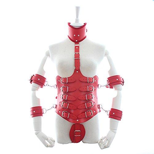 CoolTing Weibliche Lock Down Leder Taille Cincher Unterbrust Korsett mit Kragen und Arm Fesseln Bondage Fetisch KostümSchwarz Rot,Red,M -