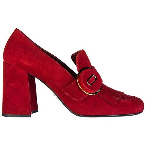 Prada Damenschuhe Wildleder Pumps mit Absatz High Heels Rot