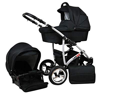 +++ SALE Raff Largo System Kinderwagen Babywagen Buggy, Autositz Kinderwagen System 3 in1 + Wickeltasche + Regenschutz +Insektenschutz (Set 3w1: Wanne + Sportsitz + Babyschale, whole black)