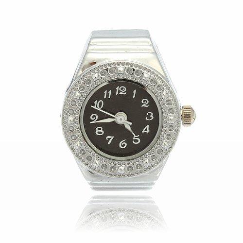 Gleader Strass Ring Uhr Ringuhr Fingeruhr Quarzuhr Uhrenring Legierung Unisex Schwarz