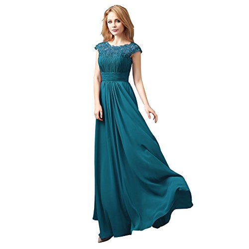 New Chiffon Floor Long Maxi Evening Bridesmaid Formal Party Prom Dress Gown (12, Teal)