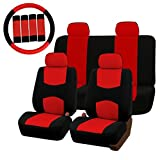 #9: Generic Universal Car Seat Covers Protector Full Set Steering Wheel Cover Belt Pad Red Black One piece