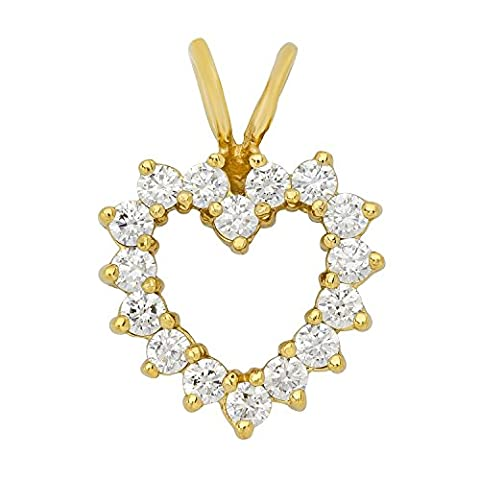 Gold Plated Heart Shaped Halo of Round Brilliant CZs Pendant