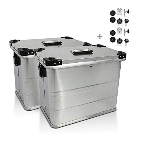 Alu Seitenkoffer Bagtecs 2 x 34l + Adapter für 16mm Kofferträger (Paar) Honda Transalp XL 600/ 650/ 700 V, Varadero XL 1000 V, VFR 750 F/ R, 800/ 1200 F