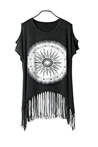 Damen Bluse Shirt Shirt Damenbluse Aufdruck Kurzarm Ärmellos Tassel Punk Hippie (Shirt Top Hippie)