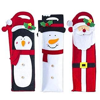 Amosfun 3 Piezas Funda de Botella de Vino Navidad Portátil Cubierta de Botella Vino de Papá Noel Muñeco de Nieve Pingüino Decoración de Navidad