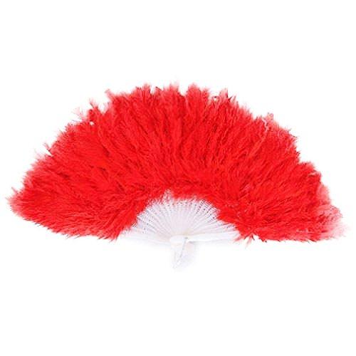 SODIAL(R) Damen Federfaecher 1922er Moulin Rouge Burlesque Kostuem Zubehoer - rot (Burlesque Kostüm Rot)