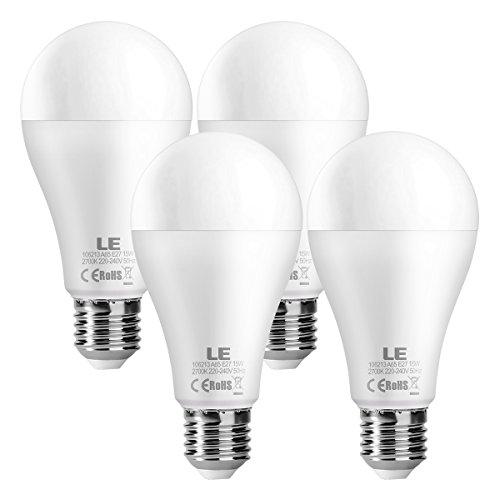 15w Lampe (LE 4er 15W superhell E27 LED Lampen, ersetzt 100W Glühbirne, A65 1500lm Birnen, Warmweiß 2700K 200° Abstrahlwinkel)