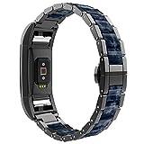 Wearlizer Armband Kompatibel Fitbit Charge2 Armband, Metall Harz Plastik Charge 2 Armbänder Replacement Wrist Strap Uhrenarmband für Fitbit Charge 2 –Schwarz + Dunkelblau