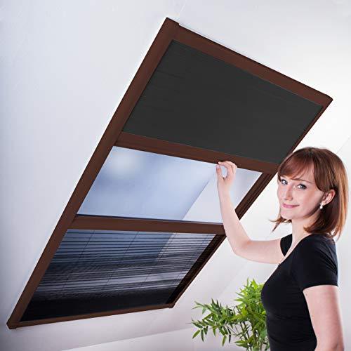 Kombi Dachfenster-Plissee - Sonnenschutz & Fliegengitter für Dachfenster 110 x 160 cm | brauner Rahmen