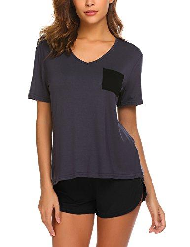 Damen Schlafanzug Pyjama Shorty Mit Shorts & Shirt frauen Nachtwäsche weich Kurzarm Sleepwear sommer