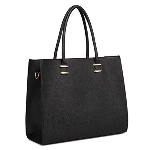 Miss Lulu Handtasche Damen Aktentasche Henkeltasche Unitasche Schultertasche Tote Bag Retro Elegant Groß (Schwarze Tasche Große)