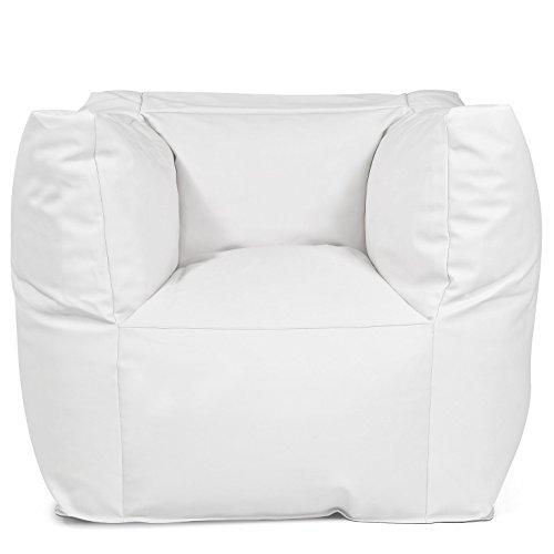 Outdoor Sitzsack Sessel 'Valley Light white' weiß Lederoptik wetterfest frostsicher Gartenstuhl Gartensessel Gartenliege für draußen Outdoor Lounge Gartenmöbel modern