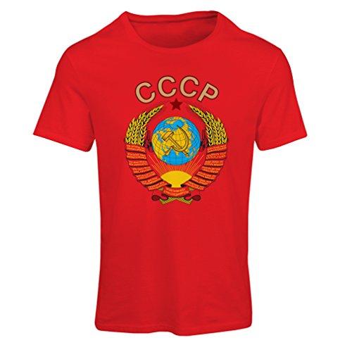 lepni.me Frauen T-Shirt СССР UDSSR Sowjetunion russische Flagge und Hymne (Medium Rot Mehrfarben)