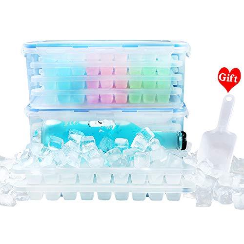 Eiswürfelform BPA Frei Eiswürfelbehälter mit Deckel PP Eiswürfel (2 Schicht 72 Stück Kleine Form)