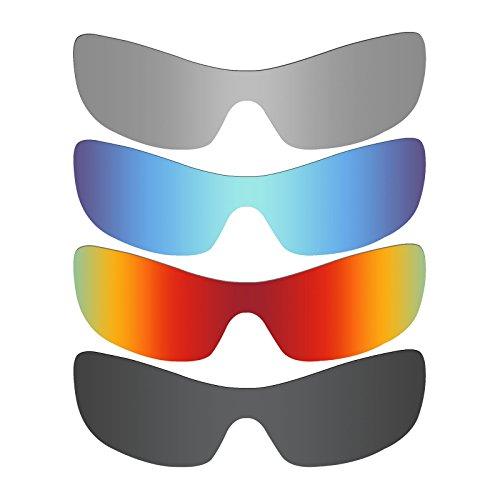 MRY 4Paar Polarisierte Ersatz Gläser für Oakley Antix sunglasses-stealth schwarz/fire rot/ice blau/silber titan