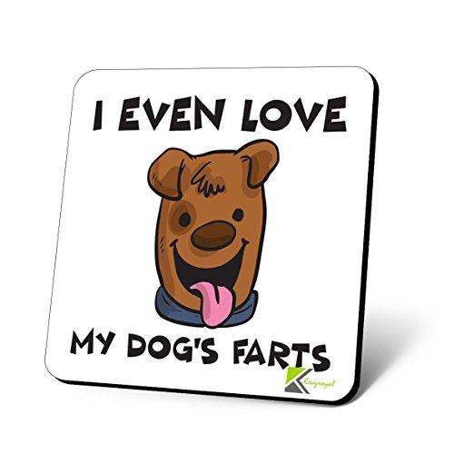 cs930Ich auch Love My Dog 's Farts Neuheit Funny Kaffee Tee Getränk Geschenk glänzend MDF Untersetzer aus Holz -