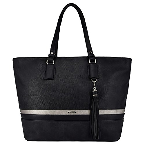 David Jones - Damen Large Size Tote Henkeltasche - Lange Henkel Frauen Schultertasche - Streifen Multicolor Top-Handle Bag - Shopper Aktentasche Schultasche - Waterproof Canvas - Schwarz (17zoll Tote Laptop)