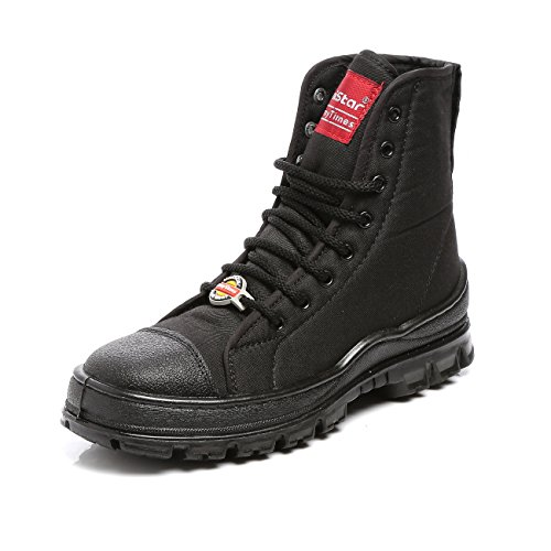 Unistar Men's Black AntiSkid High Ankle Jungle Boots with Dust Proof Bag - 10