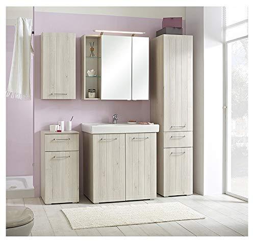 PELIPAL - MARE 11 - Badmöbel-Set - 80 cm - 6-teilig Badset stehend mit Spiegelschrank Keramik-Waschtisch usw. - Landhausstil - in Pinie Ida Hell EEK: A+ (Spektrum A++ - A)