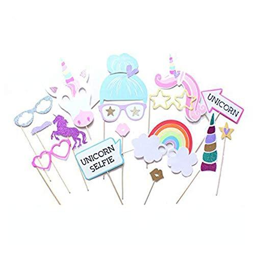 Jushi 15 PC Unicorn Party Supplies Regenbogen-buntes Einhorn Photo Booth Props für Mädchen Kinder-Geburtstags-Baby-Partei-Dusche