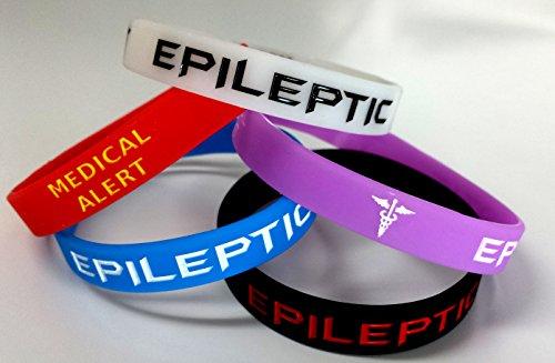 www.wristbandsforyou.com 5x Epilettici epilessia Braccialetto di sensibilizzazione per allerta Medica Glow in The Dark, Rosso, Nero, Viola, Blu, Sequestro