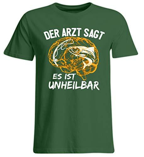 Fischer Shirt · Angeln · Lustiges Geschenk für Angler · Motiv: Es ist unheilbar - Übergrößenshirt -5XL-Dunkelgrün