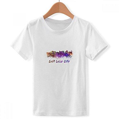 (DIYthinker Jungen Salt Lake City Amerika Stadt Aquarell Crew Hals Weißes T-Shirt X-Groß Mehrfarbig)