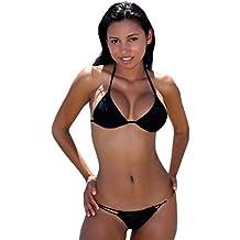 nuova nero da donna con allacciatura dietro al collo tanga bikini swimwear beachwear estate taglia uk 8 10 eu 36 38