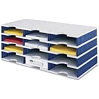 Styro 12-Compartment Literature Organiser Grey/Blue 268-0304-38