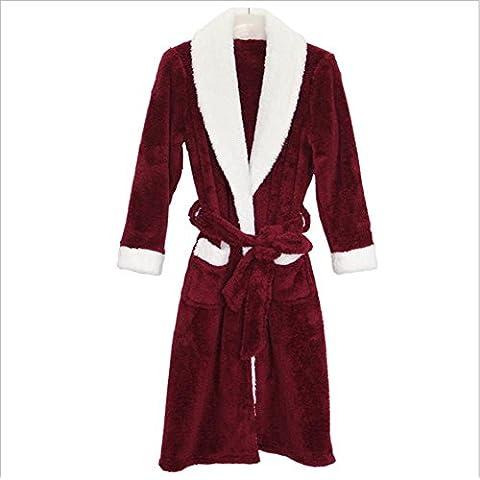 DMMSS Señoras terciopelo Coral camisón pijamas trajes de otoño e invierno , wine red men , xxl