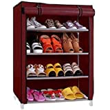 YUTIRITI 4 Layer Maroon Shoe Rack with Cover Space Saver Storage Organiser - Maroon