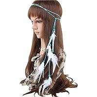 1PCS donne ragazze fatto a mano blu Boemia stile hippie capelli piuma  capelli ornamento perline di a68dd5977798