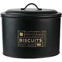 La Box A BT6670 - Caja para galletas, metal, color negro y dorado, 21 x 14 x 17 cm