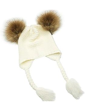 MIOIM Baby Strickmützen Gestrickt Warme Winter Mütze Hut Beanie mit Ohrenschutz und Zwei Abnehmbar Haarball