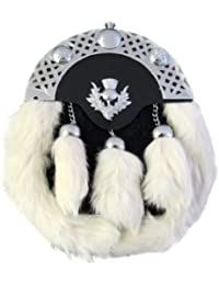 Tartanista - Sporran écossais pour homme - fourrure de lapin - emblème chardon - blanc/noir