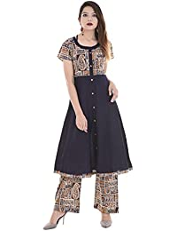 Palakh Women's Cotton Blue A-line Block Printed Kurti With Printed Palazzo