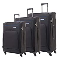 American Tourister Luggage Trolley Bags Set Of 3 Pieces, Black, 04O09009, Unisex
