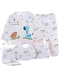 Value Pack Recién Nacido Bebé, LANSKIRT 11PCS Bebé Niña Niño Dibujos Animados Manga Larga Tops + Sombrero + Dos Pantalones + Conjunto de Traje Babero